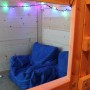 Bean Bag Seating Under Queen Cabin Bed