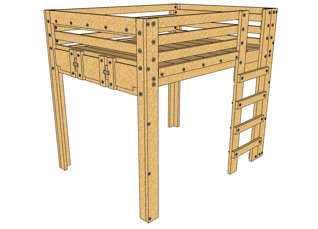 Queen Loft Bed Plans | Palmetto Bunk Bed Plans