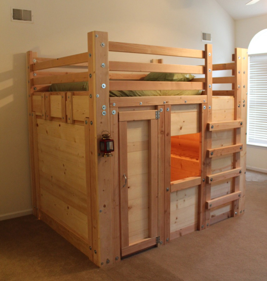 Ideas Loft Bed further Homemade Bunk Bed Plans also Full Size Loft ...