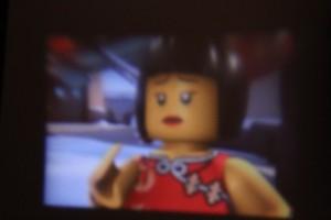 """Lego Ninjago on the """"big"""" screen of the DIY Phone Projector."""
