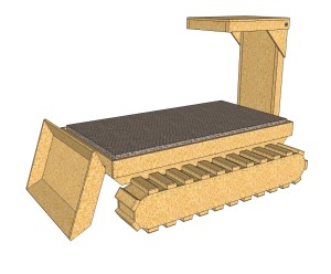 Dozer Bed With Tracks Out And Angled Blade